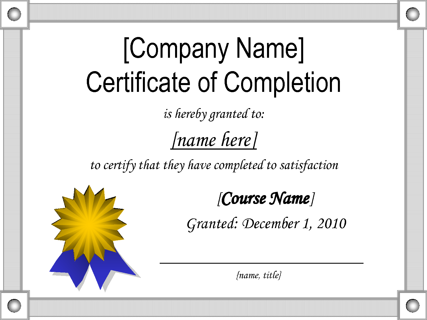 samples of certificate of completion